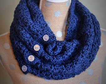 Crochet Pattern Only:  Button Up Infinity Scarf