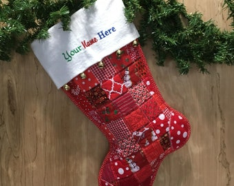 Red Quilted Christmas Stocking, Cottton Patchwork, Free Personalization, Flannel Cuff with Jingle Bells, Large Size, Fully Lined