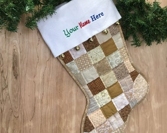 Gold & Cream Quilted Christmas Stocking,  Cottton Patchwork, Free Personalization, Large Size, Fully Lined, Flannel Cuff with Jingle Bells