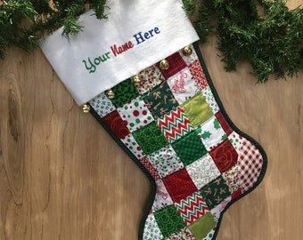 Green & Red Quilted Christmas Stocking, Cottton Patchwork, with White Flannel Cuff and Jingle Bells,  Large, Fully Lined, Personalized Free