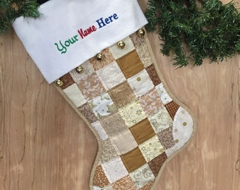 Gold & Beige Quilted Christmas Stocking,  Cottton Patchwork, Free Personalization, Large Size, Fully Lined, Flannel Cuff with Jingle Bells