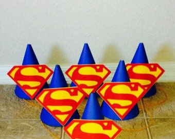 Superhero Party Hats and Bags- Superman Party Hats