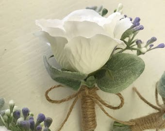 CUSTOM Boutonniere, Wedding Boutonniere, Rustic Wedding, Father Boutonniere, Rustic Boutonniere, Wedding Decorations, Prom Boutonniere