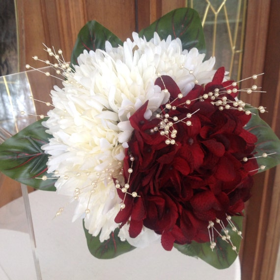 Red And White Winter Wedding Bouquet Red Hydrangea Bouquet Etsy