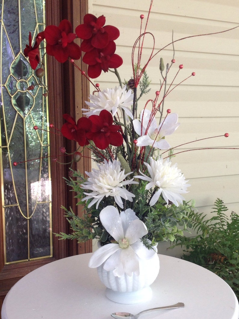 Excellent In Stock Winter Wedding Centerpiece Red Orchid Arrangement Rustic Winter Centerpiece Red And White Holiday Decor Christmas Centerpiece Download Free Architecture Designs Remcamadebymaigaardcom