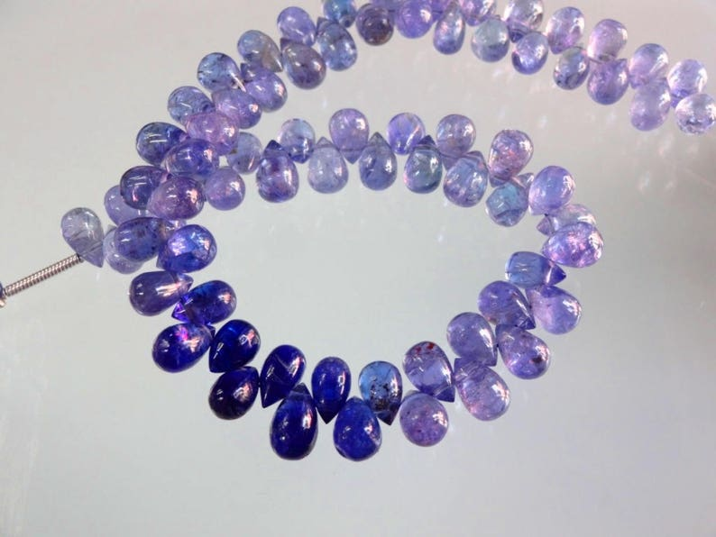 8-inch AAA quality Tanzanite smooth plain teardrop size 6.5-7mm 81cts GW3015