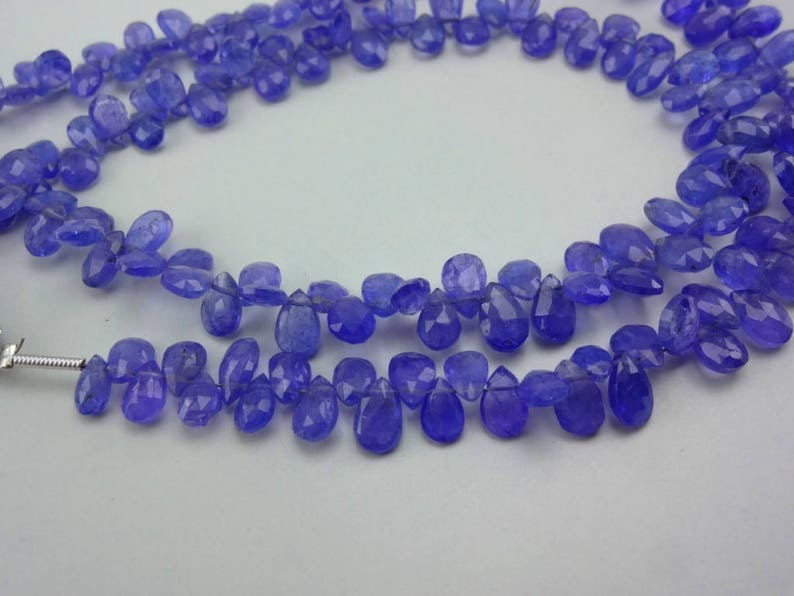 8-Inch 100/% natural Tanzanite faceted pear gemstone loose beads 5.5-7mm AAA GW5027