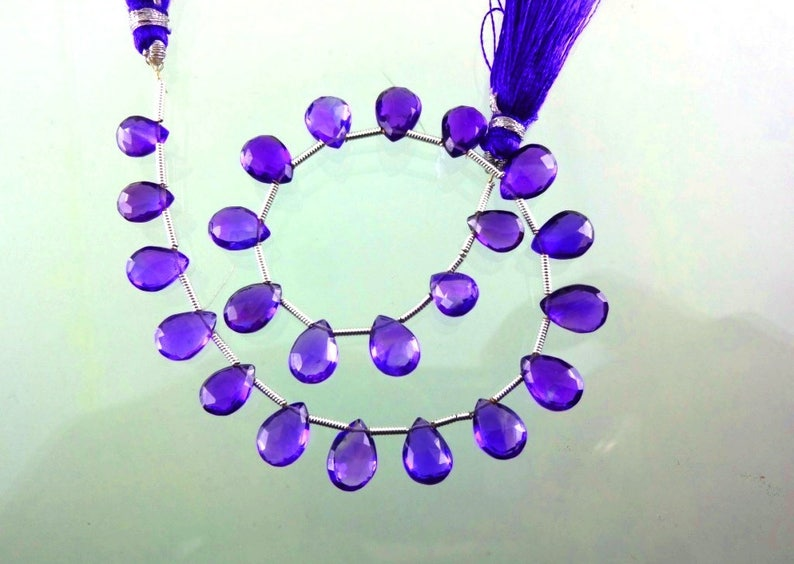 8-inch Natural African Amethyst faceted pear shape size 8.5-9.5mm 35cts
