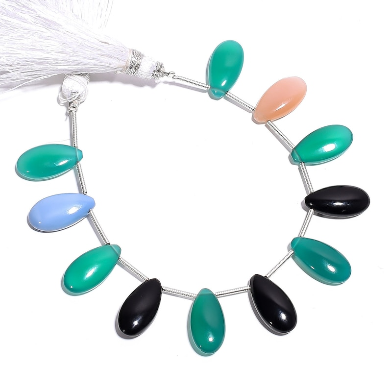 Natural Multi Chalcedony Smooth Pear Gemstone Loose Beads 16 mm 5 Strand 11679