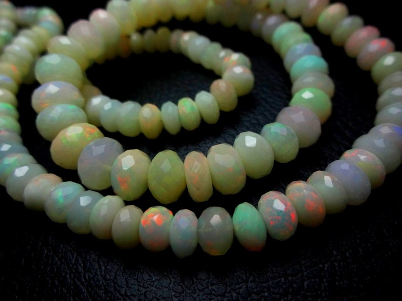 8-inch strand Gorgeous AAA quality Ethiopian Opal faceted rondelles size 5-7mm 100/% natural