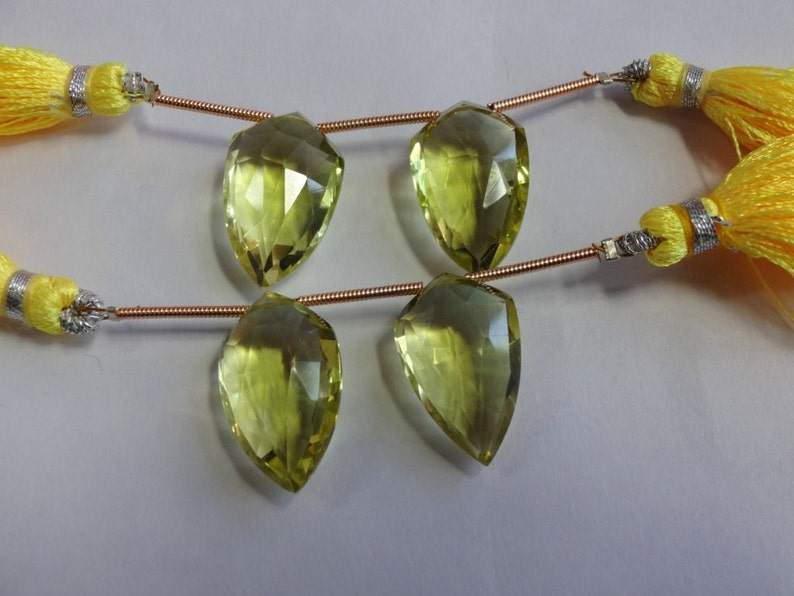 Natural Green Gold Lemon Quartz faceted fancy pear shape beads size 19.5mm sold by 1 pair
