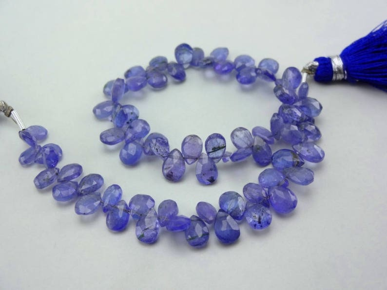 Natural Tanzanite baby blue color smooth plain pear shape size 5.5-8.75mm sold per 8-inch strand GW1107