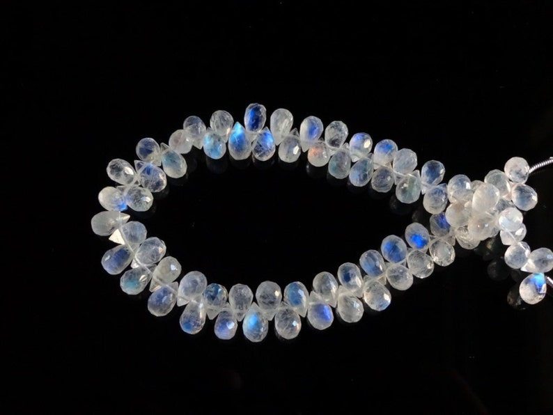 8-inch AAA quality Rainbow Moonstone faceted teardrop size 7.5-8mm 73cts GW1795