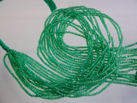 Green Onyx Micro Faceted Rondelles Green Onyx Faceted Beads Green Onyx Faceted Gemstone Loose Beads Size 2.5mm 17 Strand 7715