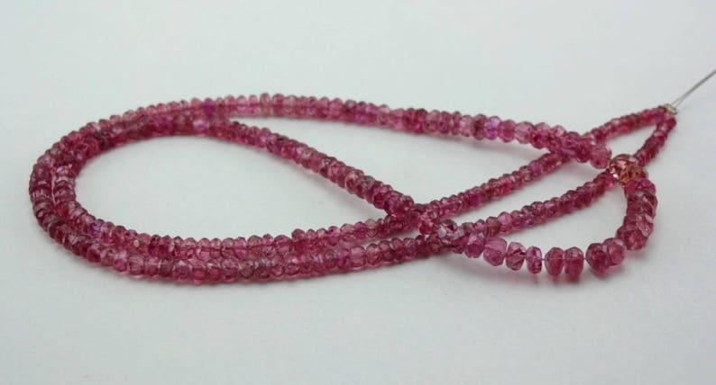 16 Strand Natural Pink Spinel faceted rondelle gemstone loose beads 2.5-4.5mm