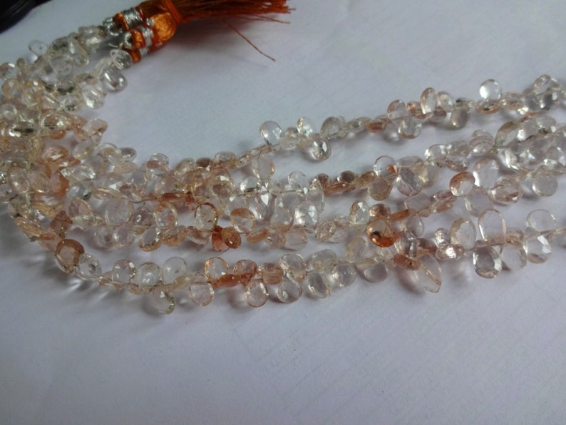 Natural Gem Imperial Topaz Faceted 10x8 to 13x9MM Size Pear Shape Beads 8 Inch Full Strand Champagne Color Super Fine Quality Briolettes