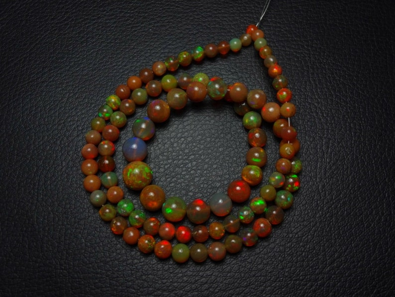 Natural AAAA quality Choclate color Ethiopian Opal smooth plain round beads size 4-8.25mm sold per 18-inch strand GW914
