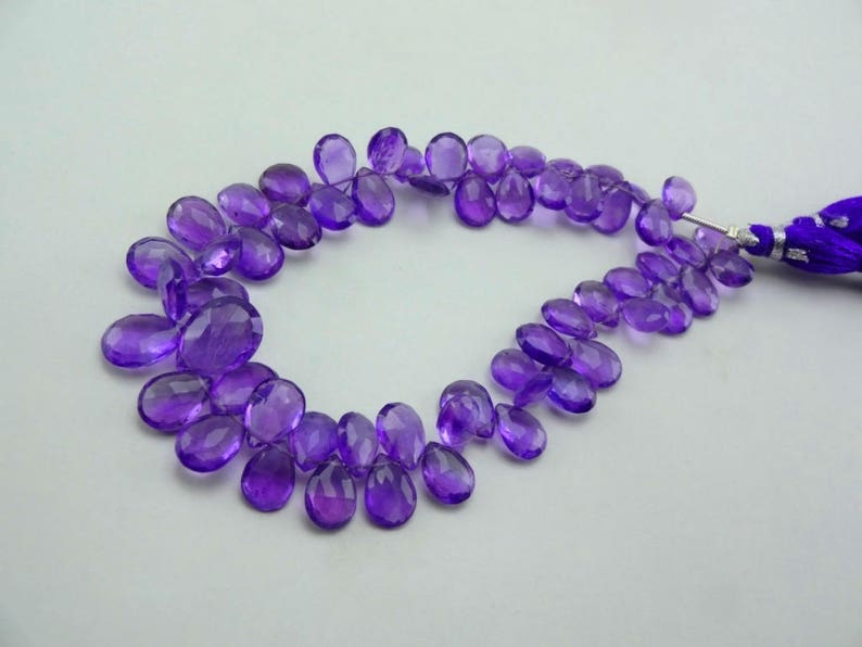 8-inch AAA Amethyst faceted pear size 9.5-13mm 98cts GW4096