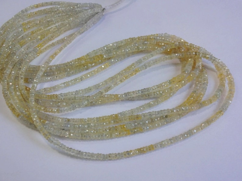 2 strand Rare to get Natural Yellow Sapphire shaded from Srilanka faceted rondelle beads size 2.5-4mm 18 Each GW512
