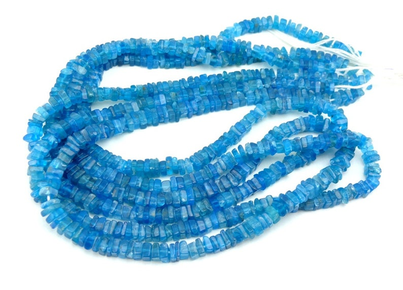 Natural Neon Apatite Smooth Square Heishi Beads 4mm 16 Strand