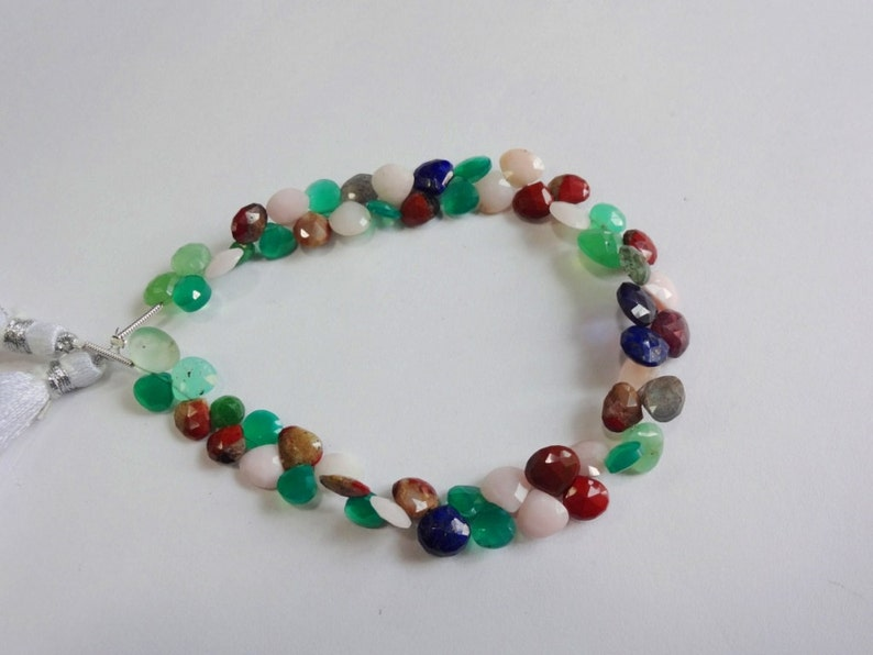 Disco Multi color mix gemstone AAA quality faceted heart shape briolette size 5.25-8.75mm sold per 8-inch strand GW798