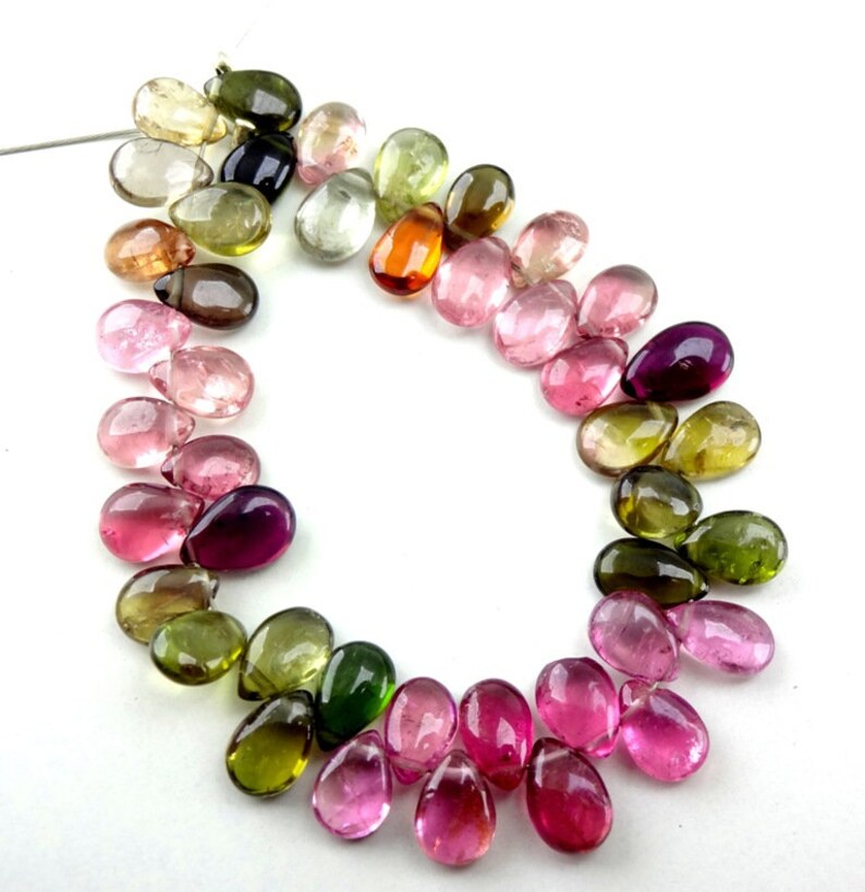 Natural AAA Multi Tourmaline Smooth Plain Pear Drop   Beads 6-7mm 4 Strand