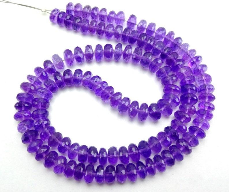 Natural African Amethyst Faceted Rondelle Gemstone Loose Beads 5.5-6mm 16 Strnd