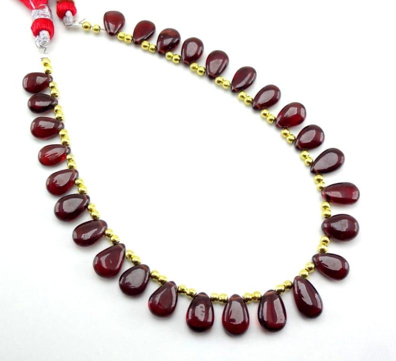Natural Garnet Smooth Pear Drop Gemstone Loose Beads 9-11mm 8 Strand