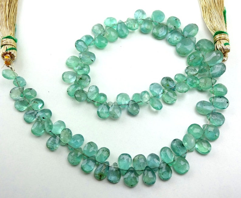 Natural Emerald Zambian Faceted Pear Drop Gemstone Beads 5-8mm 4 Strand