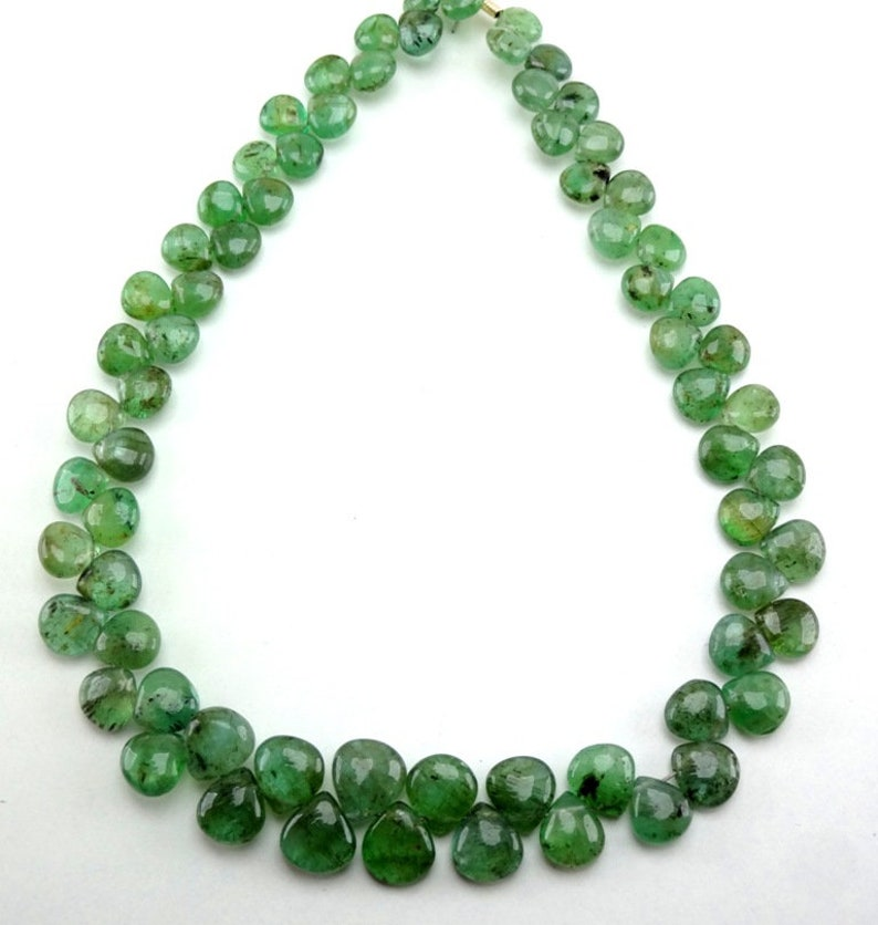 Emerald Faceted Drop Cabochon Rose Cut 24x13.2mm 7.4ct Flat Back Jewellery Supplier DIY