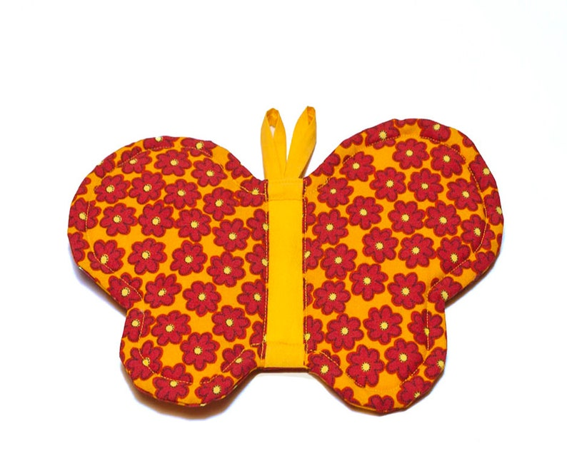 Yellow And Red Potholder Butterfly Pot Holder Wall Art Saffron