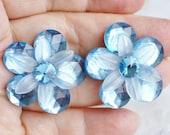 Large Vintage Flower Pierced Earrings,  Lightweight Blue Lucite Plastic