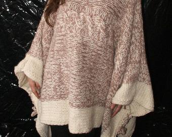 ed75c0258ebc9a 2-3 kg Grobstrick Poncho Strickponcho Wollponcho gestrickt Schurwolle mit  Rollkragen oder Kapuze für Damen für Männer für Frauen Strickolino