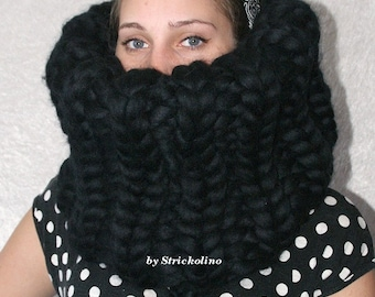 To order !!! 1,5kg gigantic monster knit balaclava chunky knitted turtleneck loop 100% merino sheep wool for men strickolino