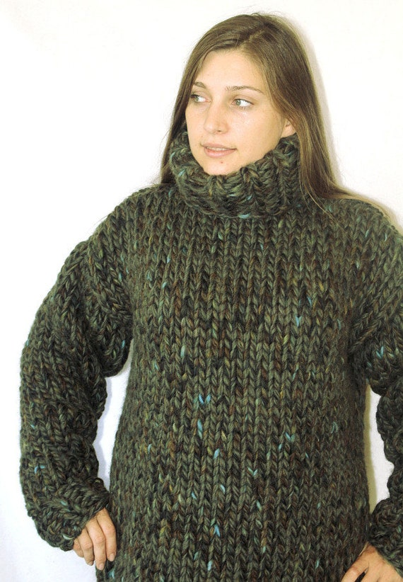 3 Kg Turtleneck Sweater Thick Knit Wool Sweater Muticolor Etsy