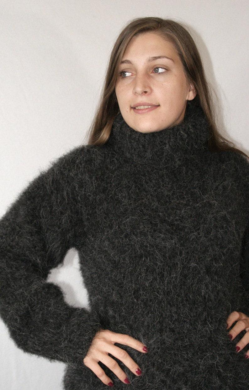 1d6365ce6 Fluffy turtleneck sweater longhair alpaca merino hand knitted