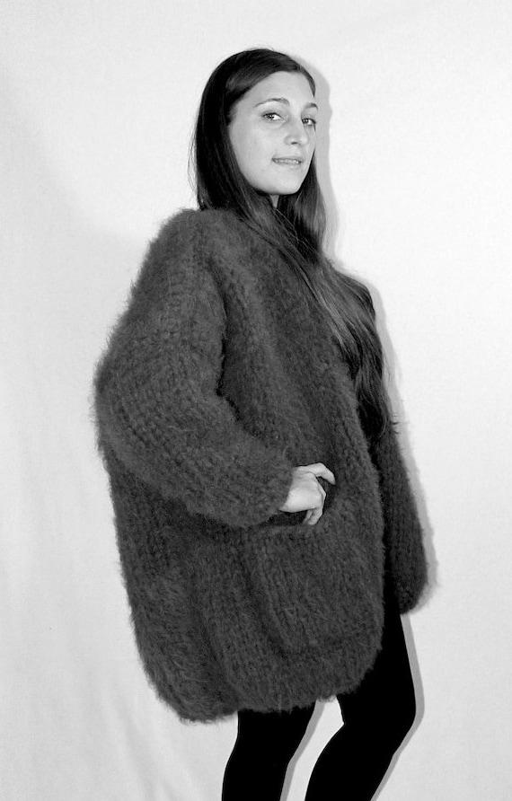 Oversize Cardigan Alpaka Merino hand gestrickt grobstrick Jacke Strickjacke Wolle Wolljacke für Frauen für Männer kein Mohair by Strickolino