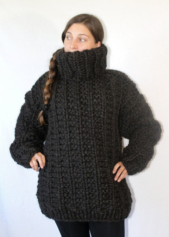 3 Kg Turtleneck Sweater Thick Knit Sweater Chunky Wool Jumper Etsy
