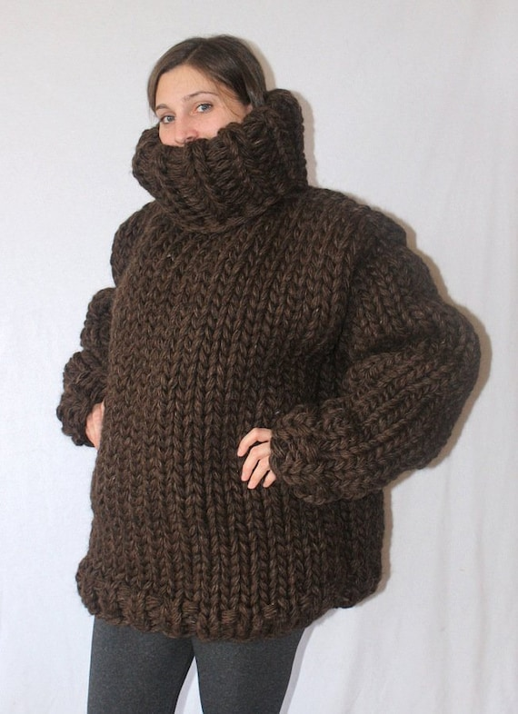 5 Kg Thick Knit Sweater Chunky Wool Turtleneck Sweater Jumper Etsy
