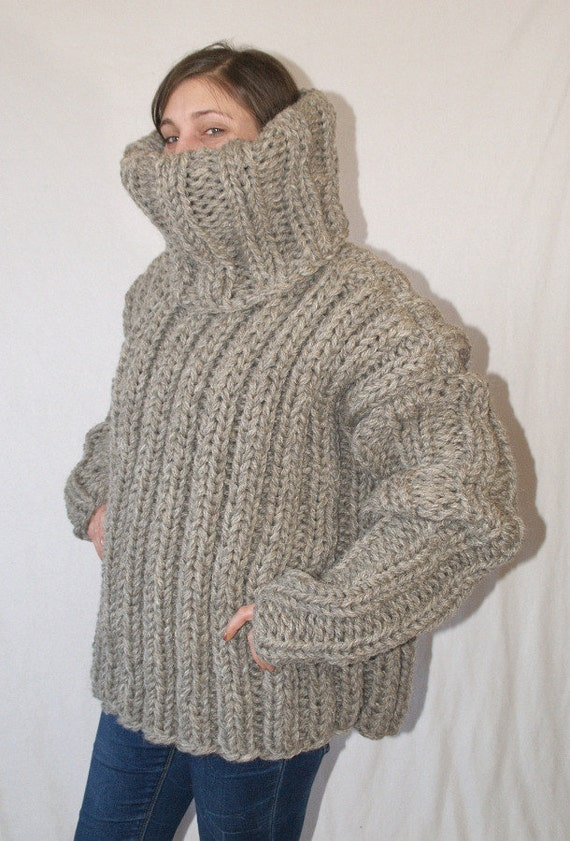 3 Kg Turtleneck Sweater Itchy Scratchy Thick Knit Chunky Mens Etsy