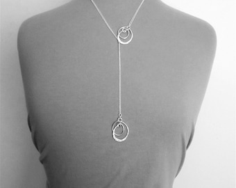 Sterling Silver Long Necklace Modern Necklace Knot Necklace Long Lariat Necklace Silver Lariat Necklace Y Necklace Chic Necklace