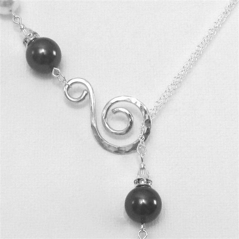 Black and White Pearl Necklace Sterling Silver and Pearl Necklace Beautiful Necklace Occasion Necklace Elegant Necklace Lariat Necklace