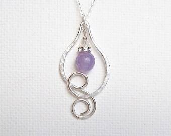 Custom Birthstone Necklace Sterling Silver Birthstone Necklace Amethyst Necklace February Birthstone Jewelry Birthstone Gift Bridal Gift