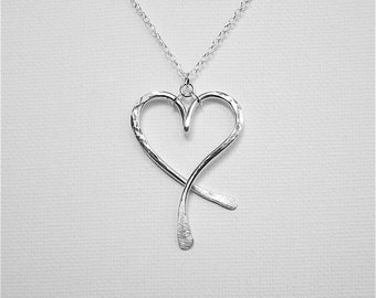 Heart Pendant Necklace Mothers Day Necklace Sterling Silver Heart Necklace Chic Necklace Hammered Heart Jewelry Large Heart Pendant