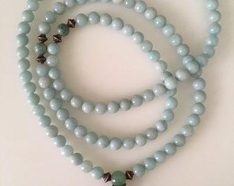 Amazonite Mala with African Jade // Prayer Beads 108 Beads // Calming and Balancing // Mala Necklace