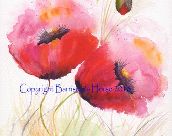 Poppies 1, fine art, Giclee Watercolour Painting Print A4. Archival quality inks