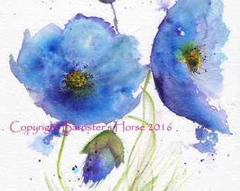 BLUE POPPIES, fine art, Giclee Watercolour Painting Print A4. Archival quality inks