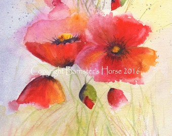 Poppies 3, fine art, Giclee Watercolour Painting Print A4. Archival quality inks