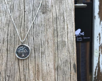 Tree of Life Silver Wax Seal Stamp Necklace