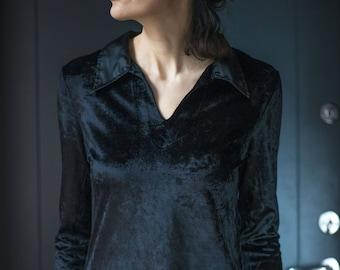 Kenzo Jungle velvet blouse black for women. Vintage long sleeve Black  Velvet Top. 90s velvet shirt for lady Size medium. Classic Blouse her 26bb4ae6e71